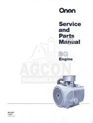 ONAN BG Engine Service Shop & Parts Manual 965-0251 18h
