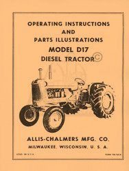 ALLIS CHALMERS D-17  D17 Tractor Owners Parts Manual AC