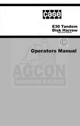 Case E30 Tandem Disk Harrow Operators Manual E 30 Disc