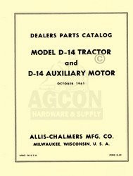 ALLIS CHALMERS D-14 D14 Parts Catalog Manual Auxiliary