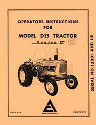ALLIS CHALMERS D15 D-15 Series II 2 Operators Manual AC
