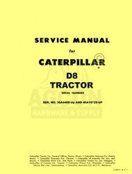 Caterpillar D8 TRACTOR D-8 SHOP SERVICE MANUAL CAT 36A4469-up 46A10725-up