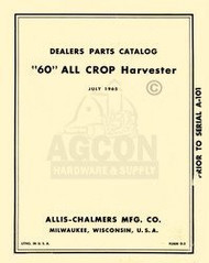 ALLIS CHALMERS All Crop 60 Harvester Parts Manual D-2