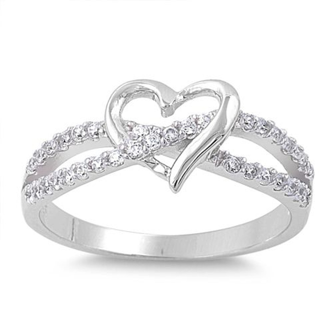 infinity promise ring. 925 sterling silver simulated diamond infinity love heart promise ring n