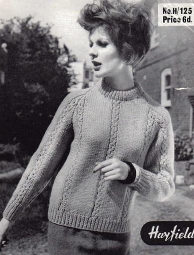 Vintage Aran Ladies Round Neck Sweater