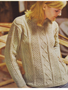 Vintage Ladies Diamond Aran Sweater