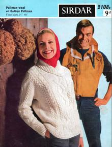 Ladies Vintage Aran Shawl Neck Pullover