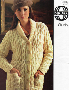 Vintage Ladies Chunky Cardigan with Pockets