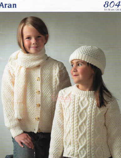 Vintage Childrens Aran Sweater, Cardigan, Scarf and Hat