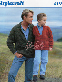 Vintage Father and Son Aran Cardigans