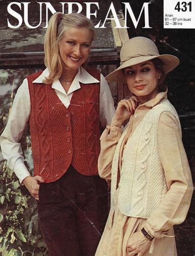 Vintage Ladies Aran Cable Fashion Cardigan