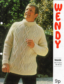 Men's Vintage Aran Diamond Knit Sweater