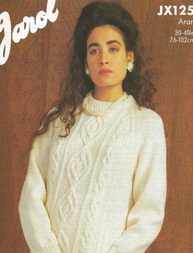 Ladies Vintage Polo Neck Aran Sweater