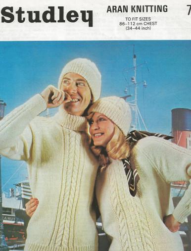 Vintage Unisex Polo Neck Aran Sweater