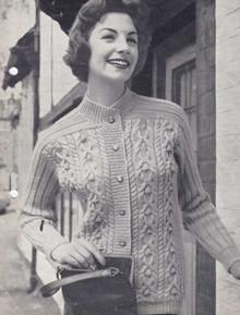 Ladies Vintage Aran Shawl Cardigan