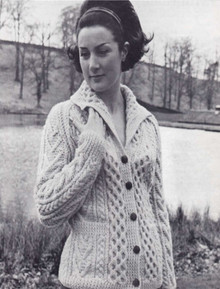 Ladies Vintage Honeycomb Aran Cardigan