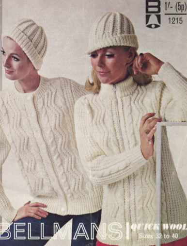 Vintage Ladies Aran Zip and Button Cardigan