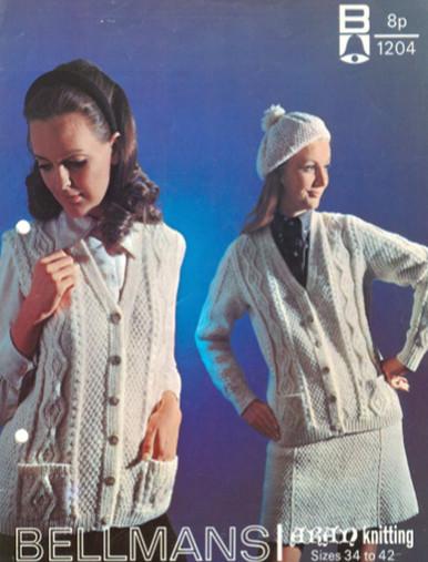 Vintage Ladies Sleeveless and Sleeved Aran Cardigan