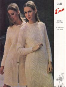 Vintage Ladies Aran Dress and Coat