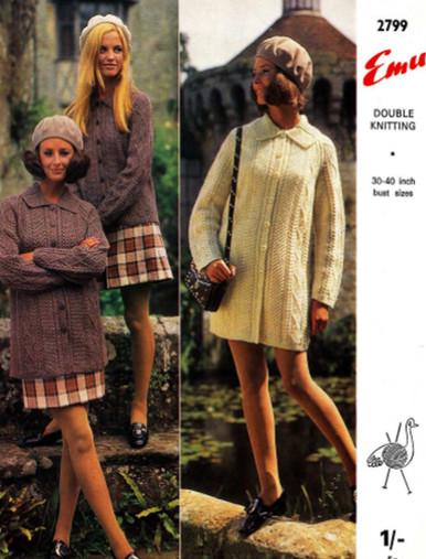 Vintage Ladies Aran Knit Coatigan
