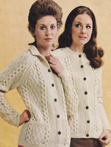 Vintage Ladies Harmony Aran Cardigan with Collar