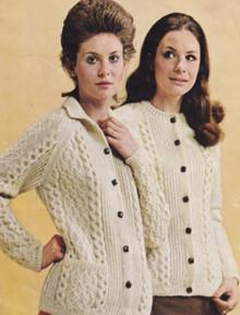 Vintage Ladies Harmony Aran Cardigan with Collar