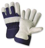 SPLIT COWHIDE PALM GLOVE WITH RUBBERIZED SAFETY CUFF 12 PAIR PER CASE