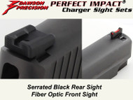 Dawson Precision Sig P Series Fixed Charger Sight Set - Black Rear & Fiber Optic Front