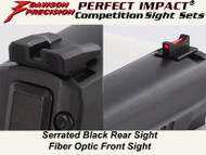 Dawson Precision Sig P320 Competition Fixed Sight Set - Black Rear & Fiber Optic Front