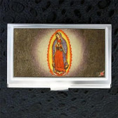 ID Case Virgin Mary Business Card Holder Wood Inlay Silver Metal Buckle Down USA
