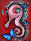 Abril Andrade Mina Tattoo Canvas Art Print Seahorse Butterfly Wall Hanging Decor