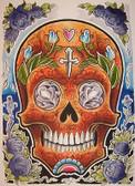 Opie Ortiz Orange Skull Tattoo Canvas Art Print