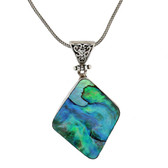 Blue Green Paua Shell Sterling Silver Pendant