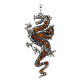 Large Amber dragon sterling silver pendant.