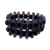 Purple Amethyst beaded stretch bracelet.