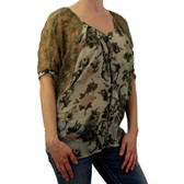 Green Angie Georgette sheer blouse.