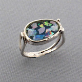 Abstract Shaped Ancient Roman Glass Oxidized Sterling Silver Ring Blue Green