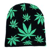 Black & Green Marijuana Pot Leaf Beanie Knit Hat