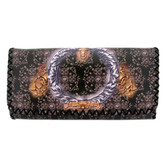 Faux leather tri fold wallet with tribal floral design.