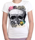 Loungefly Womens Tee Shirt Skull and Flowers Ivory Top T-Shirt Gothic Rock