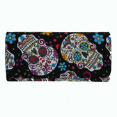 Black Wallet with Day of the Dead Sugar Skulls