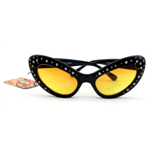Cat eye fun glasses with rhinestone edges.