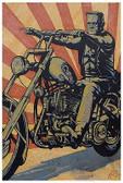 Eerie Rider Mike Bell Tattoo Art Print  Monster Frankenstein Riding Motorcycle