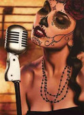 Mi Cancion by Daniel Esparza Tattoo Art Print  Day of the Dead Sexy Sugar Skull
