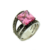 Sterling silver Marcasite and pink CZ ring.