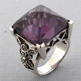 Purple CZ Square  Marcasite Sterling Silver Ring Cocktail Ring Size 6.5 Jewelry