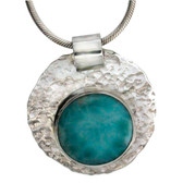 Larimar Pendant Necklace Hammered Sterling Silver Jewelry