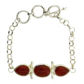 Rust Carnelian Sterling Silver Bracelet Gemstone Jewelry Toggle Clasp
