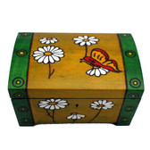 Green Yellow Flower Butterfly Trunk Box Trinket Jewelry Box w/ Lock & Key