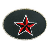 Black & Red Embroidered Nautical Star Belt Buckle Faux Leather Silver Metal